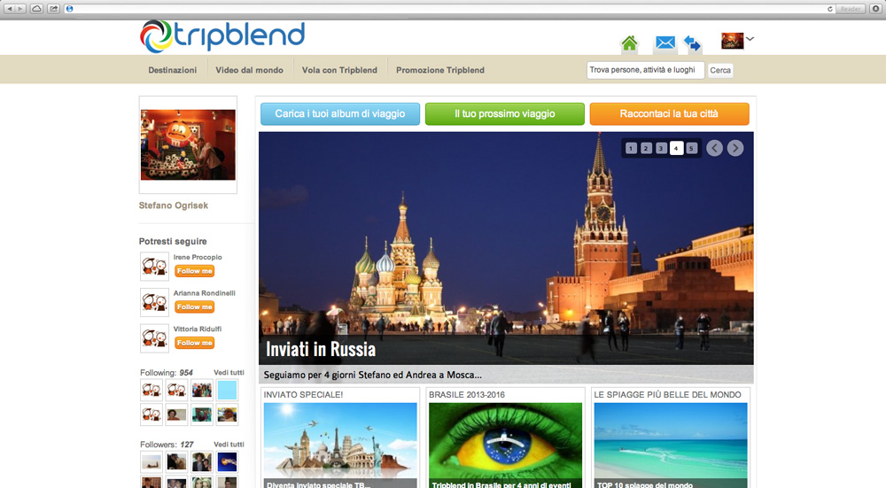 Tripblend's home page